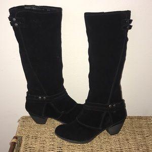 Black Suede Crown Vintage Boots